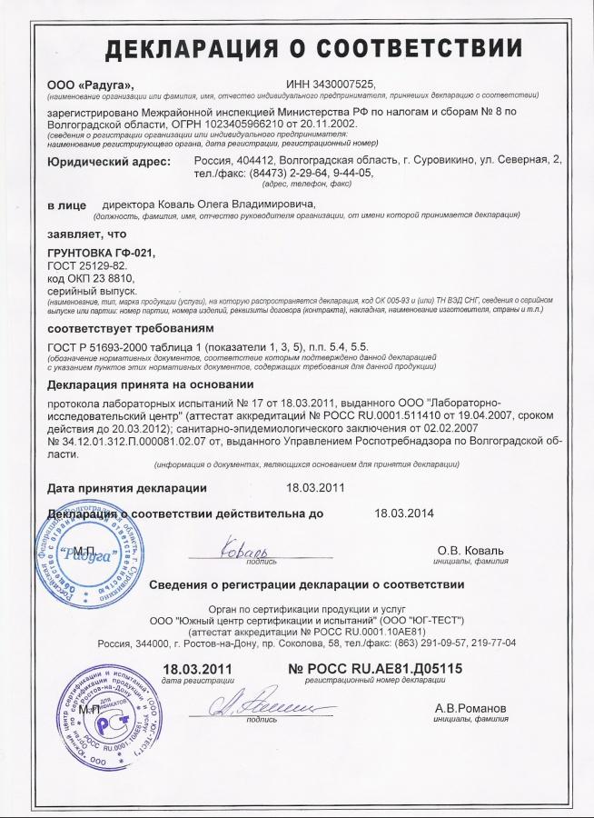 грунтовка гф-021 технические характеристики сертификат