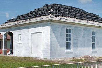 Загрунтованный фасад.